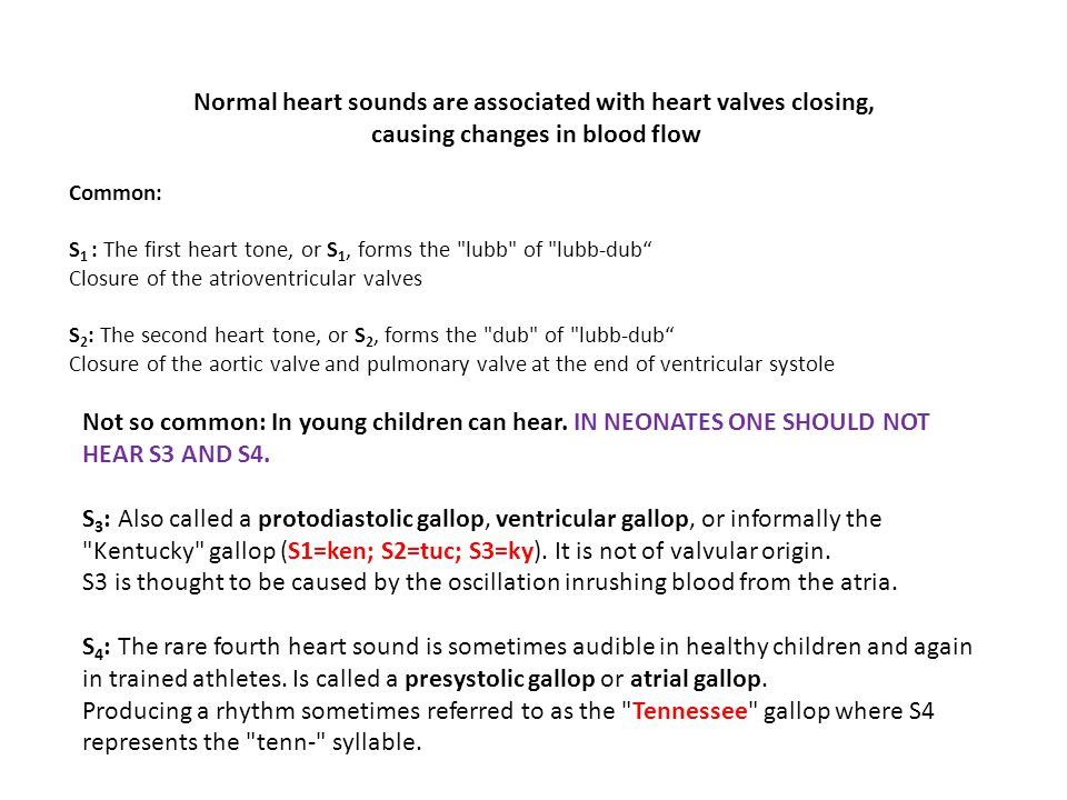 Normal heart sounds are associated with heart valves closing, causing changes in blood flow Common: S 1 : The first heart tone, or S 1, forms the