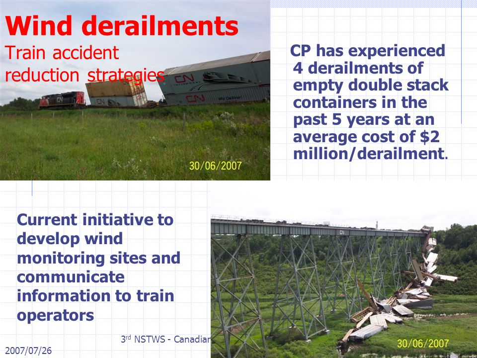 2007/07/26 3 rd NSTWS - Canadian Pacific Page 13 of Wind derailments Train accident reduction strategies CP has experienced 4 derailments of empty double stack containers in the past 5 years at an average cost of $2 million/derailment.