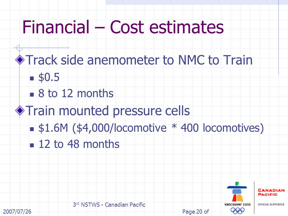 2007/07/26 3 rd NSTWS - Canadian Pacific Page 20 of Financial – Cost estimates Track side anemometer to NMC to Train $0.5 8 to 12 months Train mounted