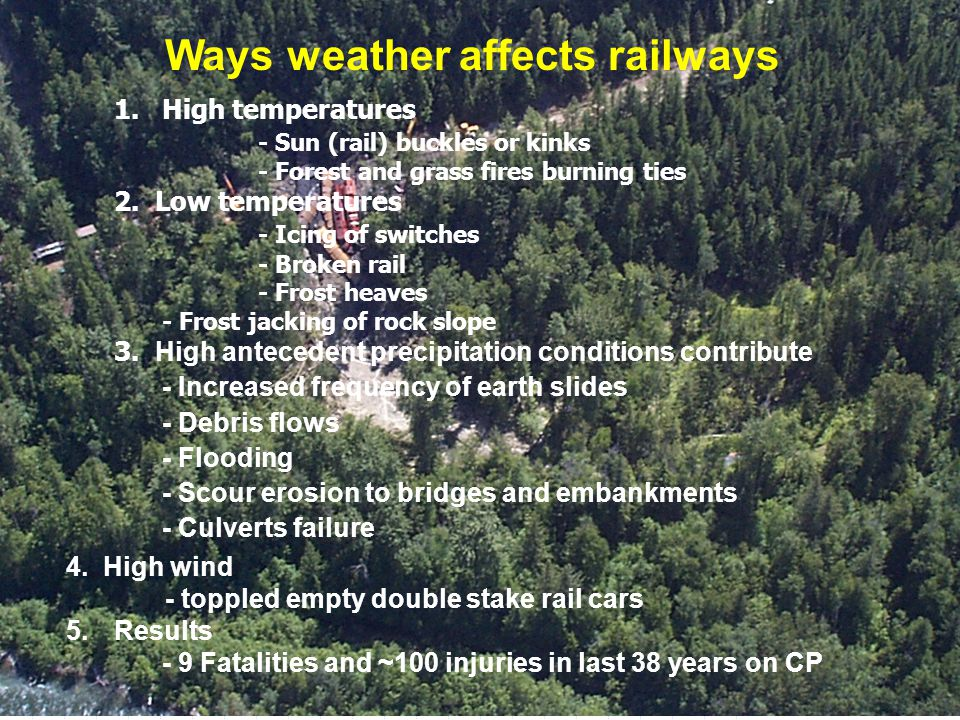 2007/07/26 3 rd NSTWS - Canadian Pacific Page 3 of 1.High temperatures - Sun (rail) buckles or kinks - Forest and grass fires burning ties 2. Low temp