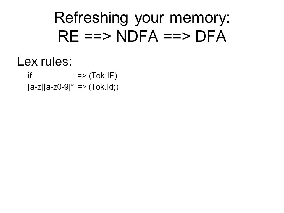 Refreshing your memory: RE ==> NDFA ==> DFA Lex rules: if => (Tok.IF) [a-z][a-z0-9]* => (Tok.Id;)