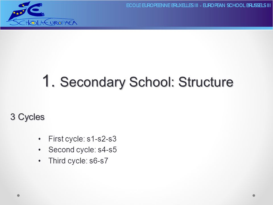 1. Secondary School: Structure First cycle: s1-s2-s3 Second cycle: s4-s5 Third cycle: s6-s7 3 Cycles