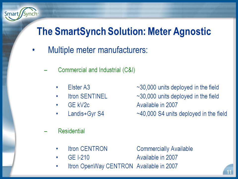 11 The SmartSynch Solution: Meter Agnostic Multiple meter manufacturers: –Commercial and Industrial (C&I) Elster A3 ~30,000 units deployed in the field Itron SENTINEL~30,000 units deployed in the field GE kV2c Available in 2007 Landis+Gyr S4 ~40,000 S4 units deployed in the field –Residential Itron CENTRONCommercially Available GE I-210 Available in 2007 Itron OpenWay CENTRONAvailable in 2007