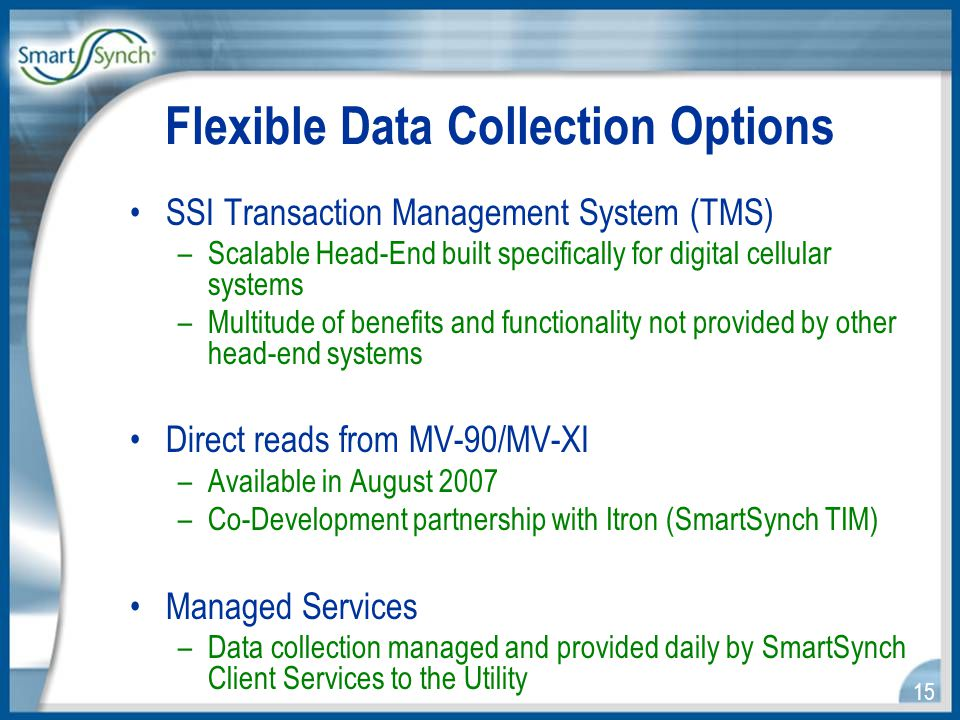 15 Flexible Data Collection Options SSI Transaction Management System (TMS) –Scalable Head-End built specifically for digital cellular systems –Multitude of benefits and functionality not provided by other head-end systems Direct reads from MV-90/MV-XI –Available in August 2007 –Co-Development partnership with Itron (SmartSynch TIM) Managed Services –Data collection managed and provided daily by SmartSynch Client Services to the Utility