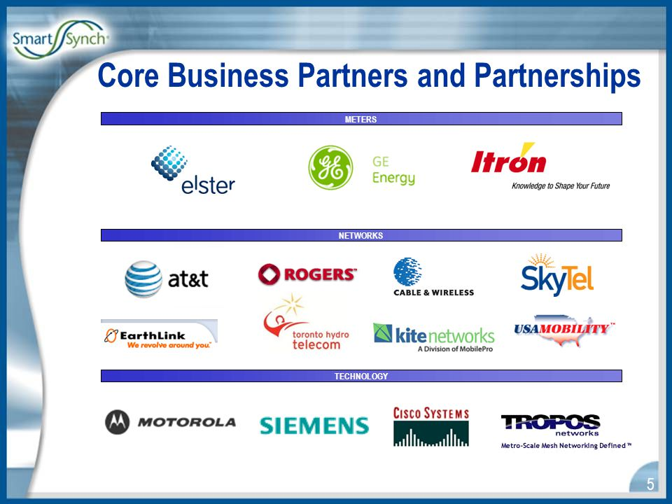 5 Core Business Partners and Partnerships METERS NETWORKS TECHNOLOGY