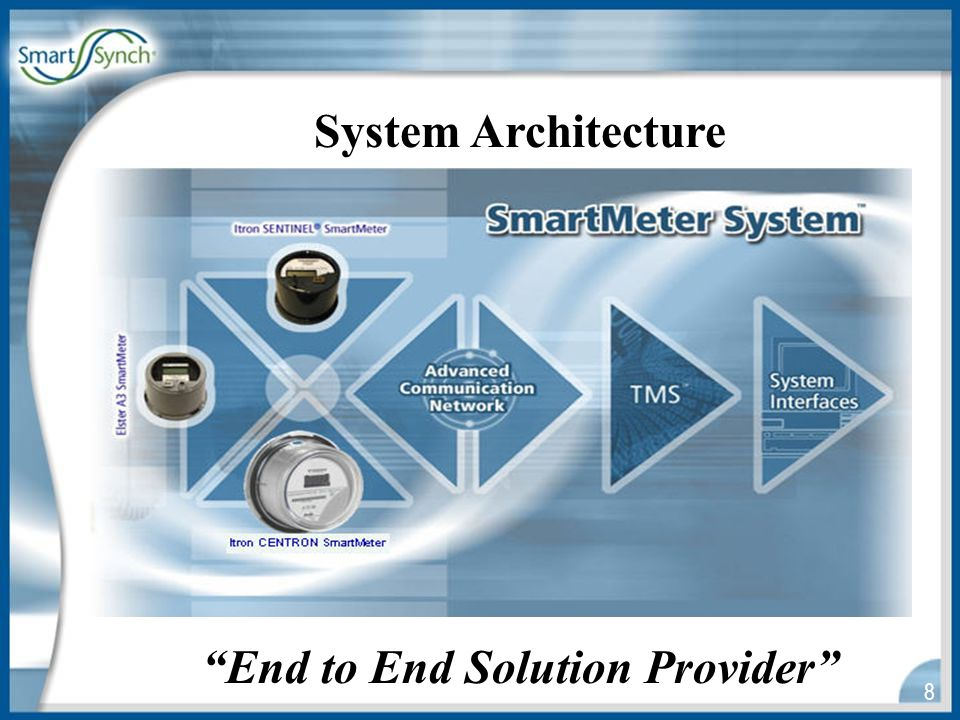 29 Customer since: 2001 Products:13,000 SmartSynch Interval SmartMeters (Siemens S4, Elster A3), TMS software Current situation:Live production customer with Real Time Load Curtailment Processing (data returned every 15 minutes and all new data exported every 5 minutes) and over 2.5 million daily transactions Read Success Rate:99% daily (with retries and data recovery, the rate is very close to 100% daily) Delivery:The product was delivered as scheduled