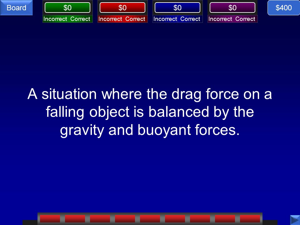 CorrectIncorrectCorrectIncorrectCorrectIncorrectCorrectIncorrect $0 Board A situation where the drag force on a falling object is balanced by the gravity and buoyant forces.