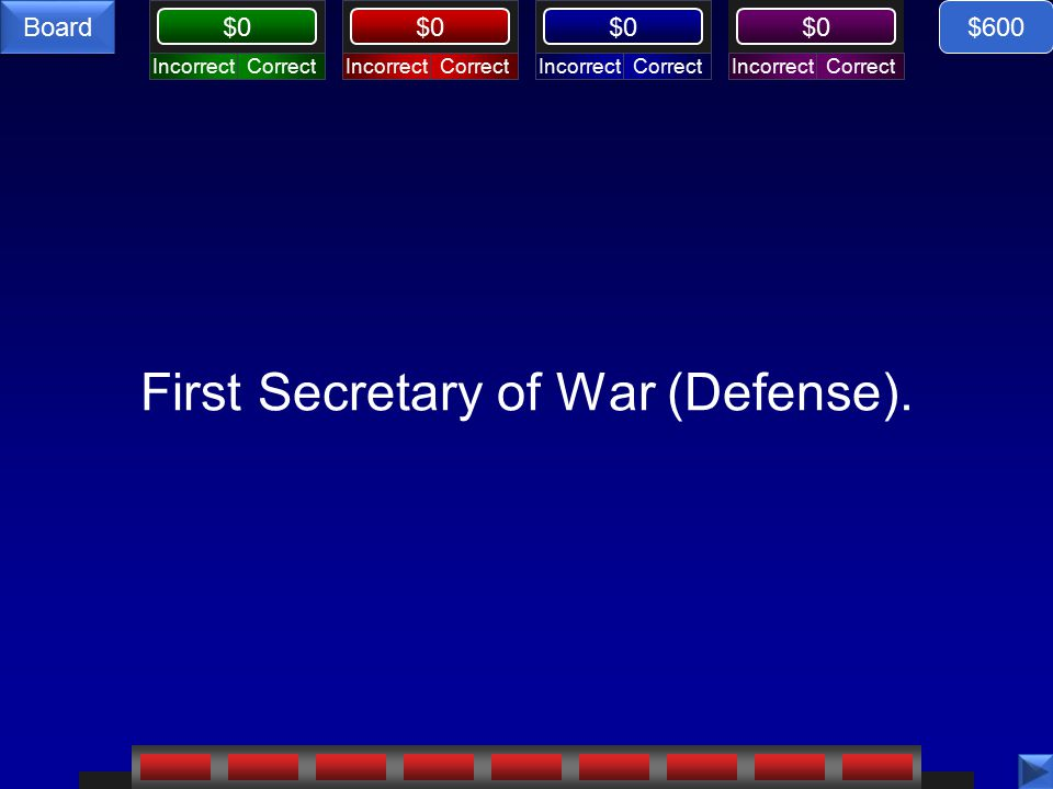 CorrectIncorrectCorrectIncorrectCorrectIncorrectCorrectIncorrect $0 Board First Secretary of War (Defense).