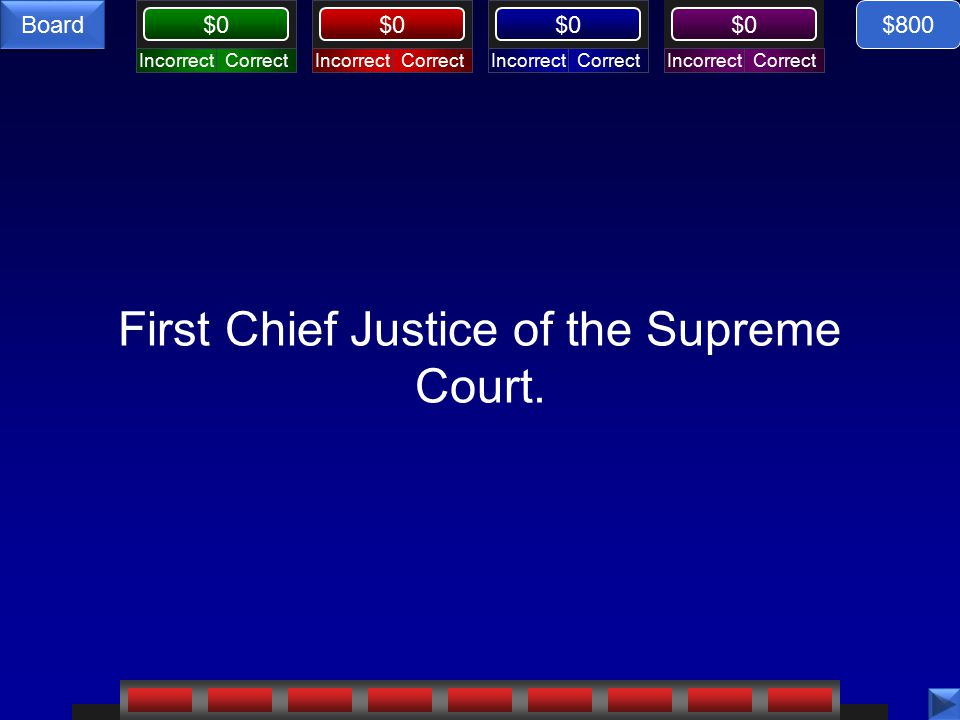 CorrectIncorrectCorrectIncorrectCorrectIncorrectCorrectIncorrect $0 Board First Chief Justice of the Supreme Court.