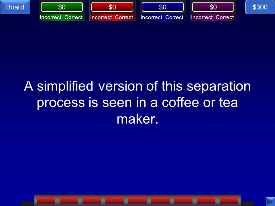 CorrectIncorrectCorrectIncorrectCorrectIncorrectCorrectIncorrect $0 Board A simplified version of this separation process is seen in a coffee or tea maker.