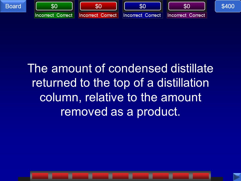 CorrectIncorrectCorrectIncorrectCorrectIncorrectCorrectIncorrect $0 Board The amount of condensed distillate returned to the top of a distillation column, relative to the amount removed as a product.