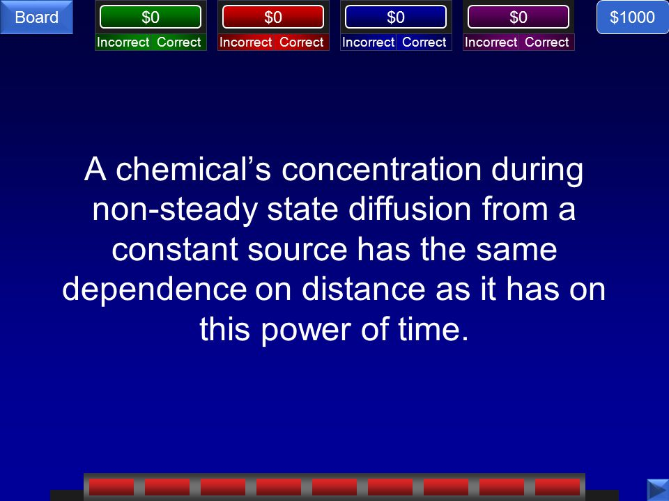CorrectIncorrectCorrectIncorrectCorrectIncorrectCorrectIncorrect $0 Board A chemical's concentration during non-steady state diffusion from a constant source has the same dependence on distance as it has on this power of time.