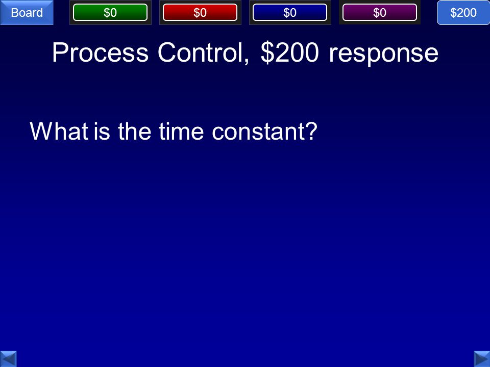 $0 Board Process Control, $200 response What is the time constant $200