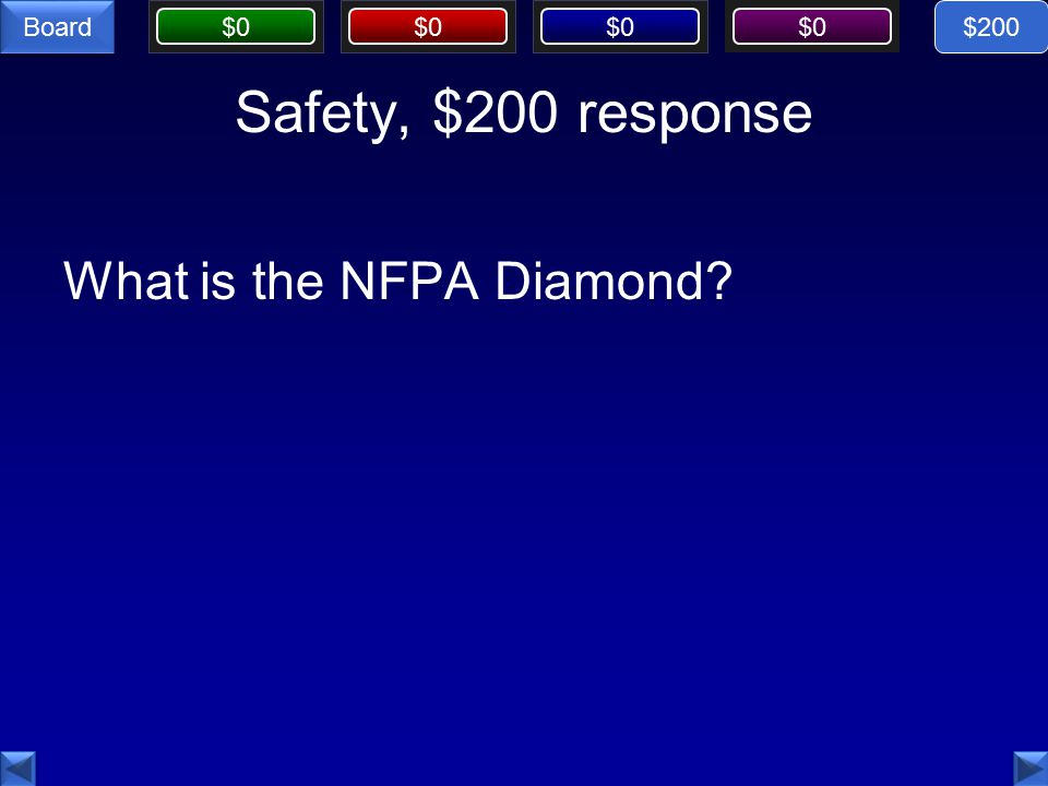 $0 Board Safety, $200 response What is the NFPA Diamond $200