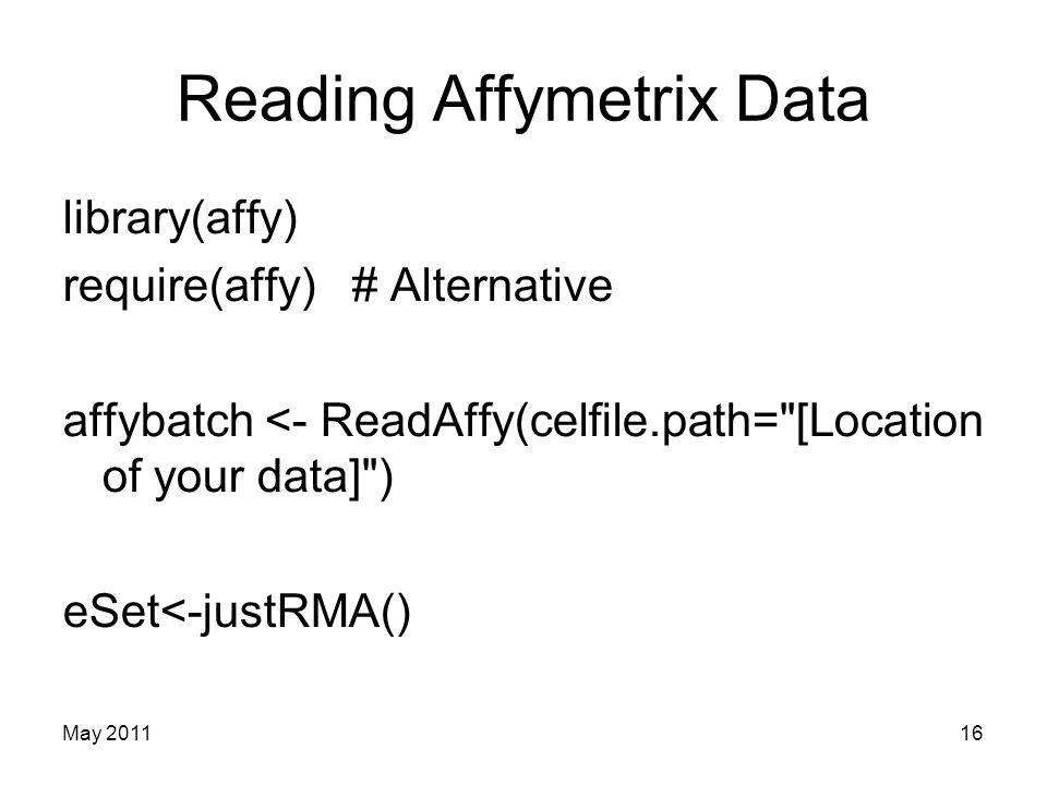 Reading Affymetrix Data library(affy) require(affy) # Alternative affybatch <- ReadAffy(celfile.path=