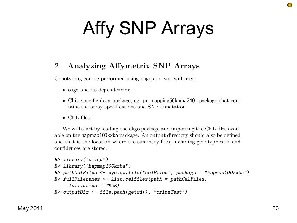 Affy SNP Arrays May 201123