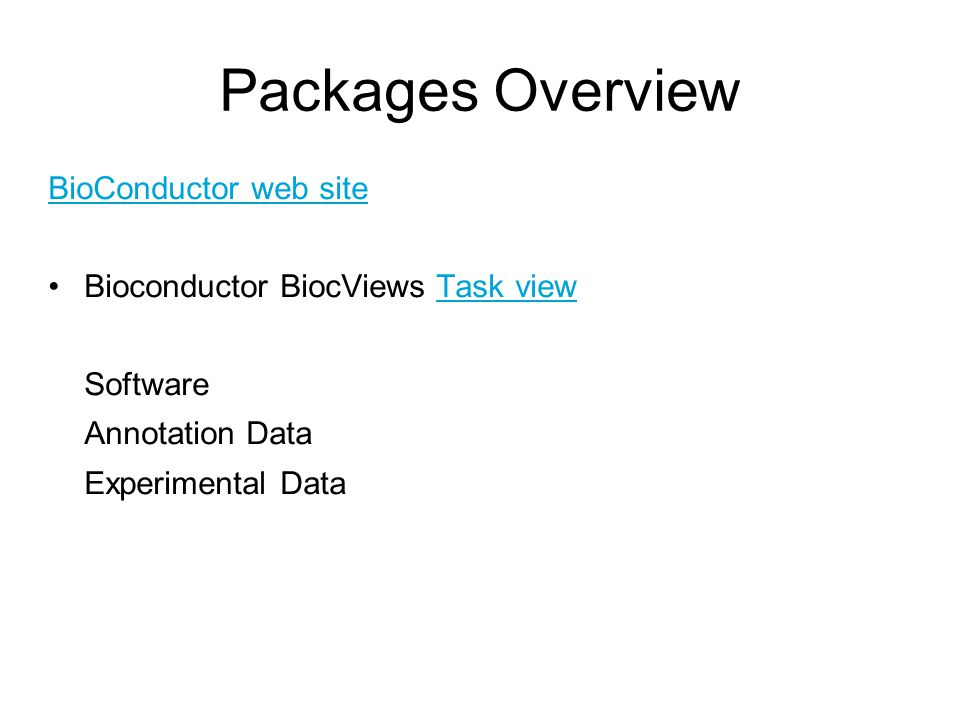 Packages Overview BioConductor web site Bioconductor BiocViews Task viewTask view Software Annotation Data Experimental Data