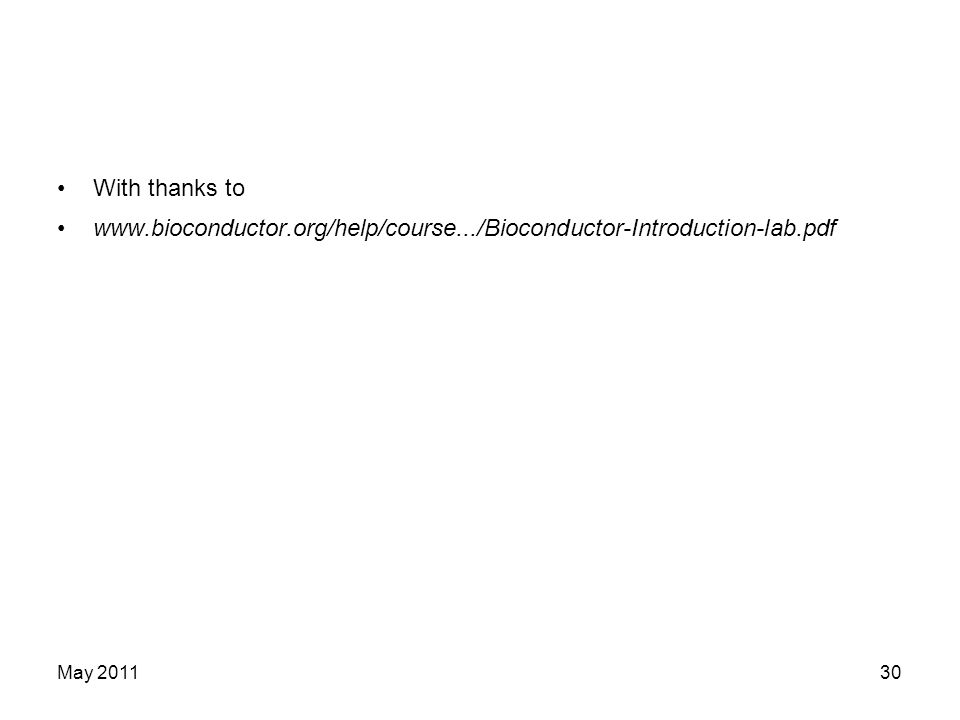 With thanks to www.bioconductor.org/help/course.../Bioconductor-Introduction-lab.pdf May 201130