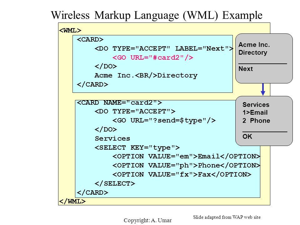 Copyright: A.Umar Wireless Markup Language (WML) Example Acme Inc.