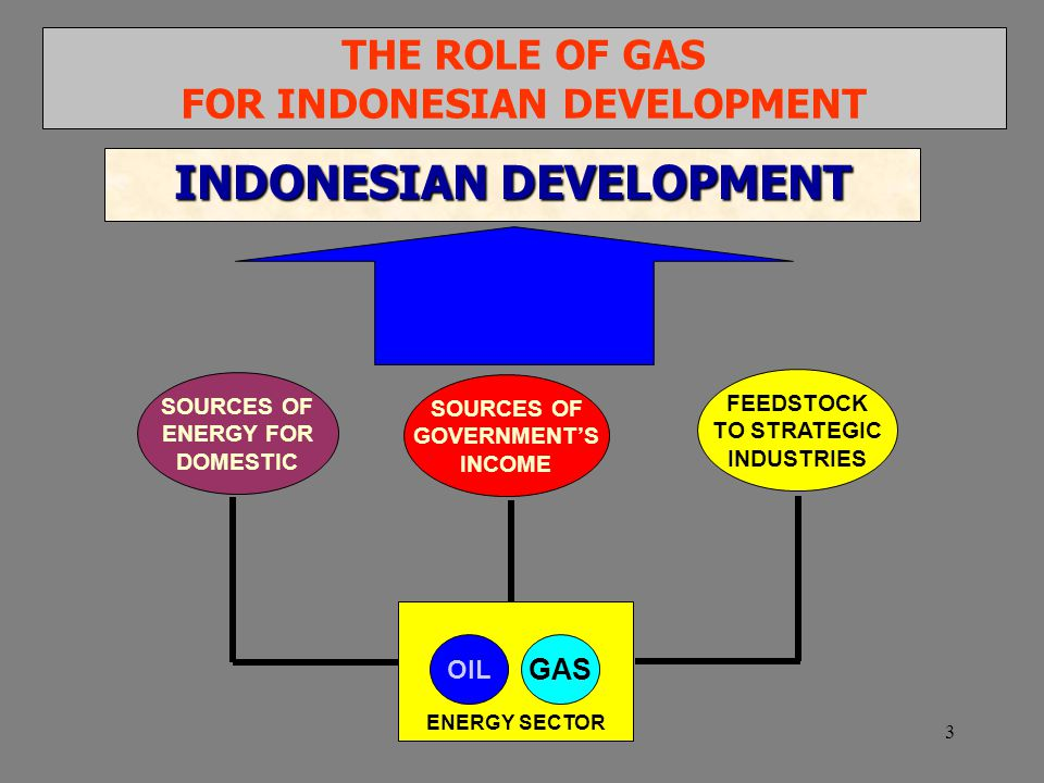 3 OIL SOURCES OF ENERGY FOR DOMESTIC THE ROLE OF GAS FOR INDONESIAN DEVELOPMENT INDONESIAN DEVELOPMENT SOURCES OF GOVERNMENT'S INCOME FEEDSTOCK TO STRATEGIC INDUSTRIES GAS ENERGY SECTOR