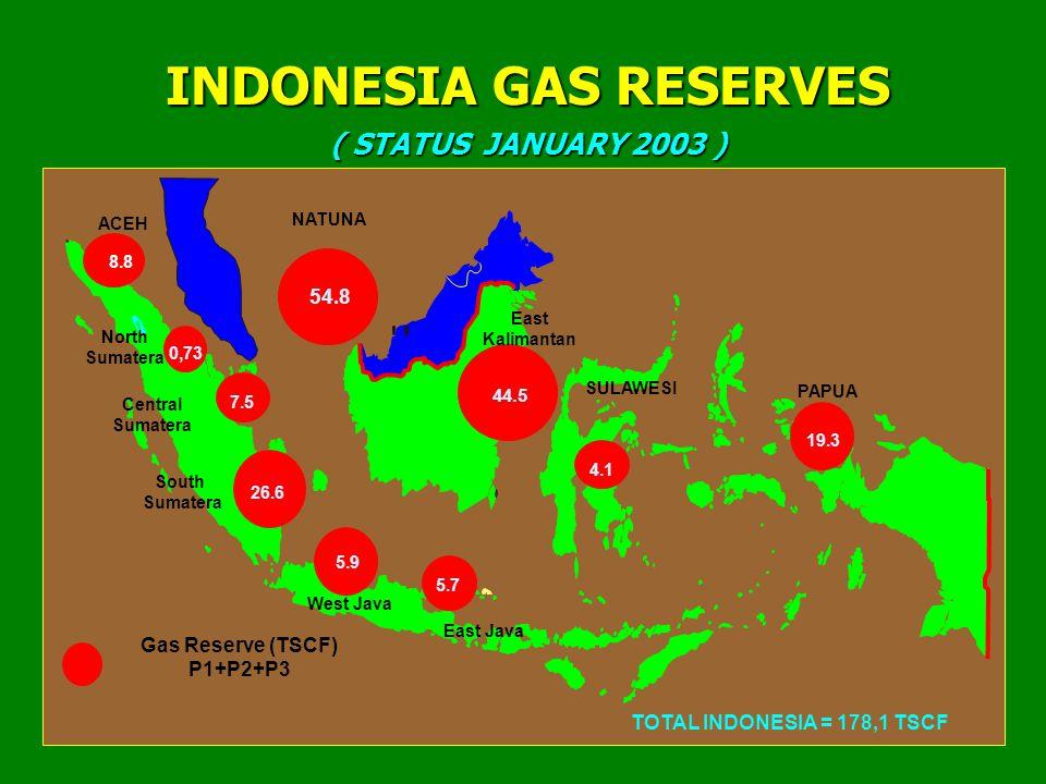 4 Gas Reserve (TSCF) P1+P2+P3 TOTAL INDONESIA = 178,1 TSCF INDONESIA GAS RESERVES ( STATUS JANUARY 2003 ) 8.8 0,73 7.5 26.6 5.9 5.7 54.8 44.5 19.3 ACEH Central Sumatera PAPUA NATUNA East Java North Sumatera South Sumatera East Kalimantan West Java 4.1 SULAWESI