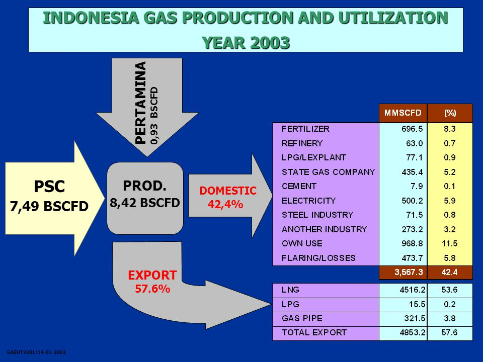 6 INDONESIA GAS PRODUCTION AND UTILIZATION YEAR 2003 PROD.