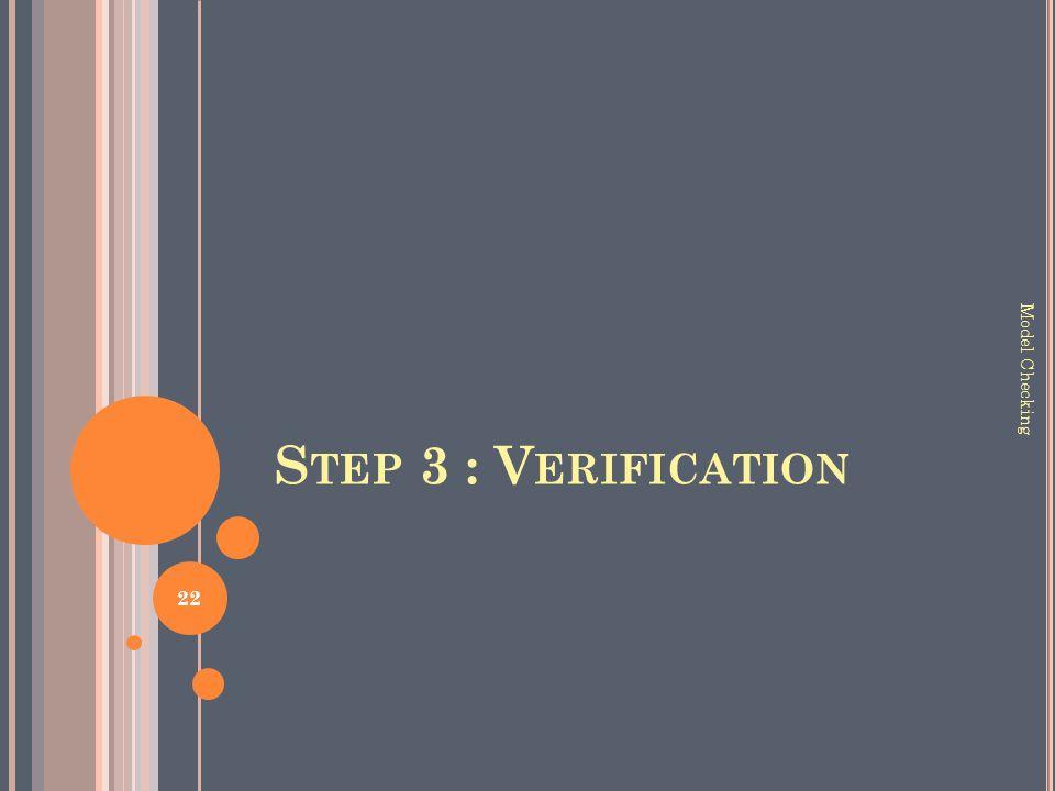S TEP 3 : V ERIFICATION 22 Model Checking