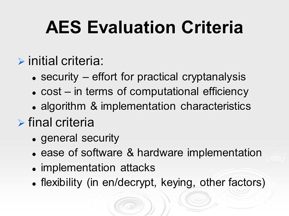 AES Evaluation Criteria  initial criteria: security – effort for practical cryptanalysis security – effort for practical cryptanalysis cost – in term