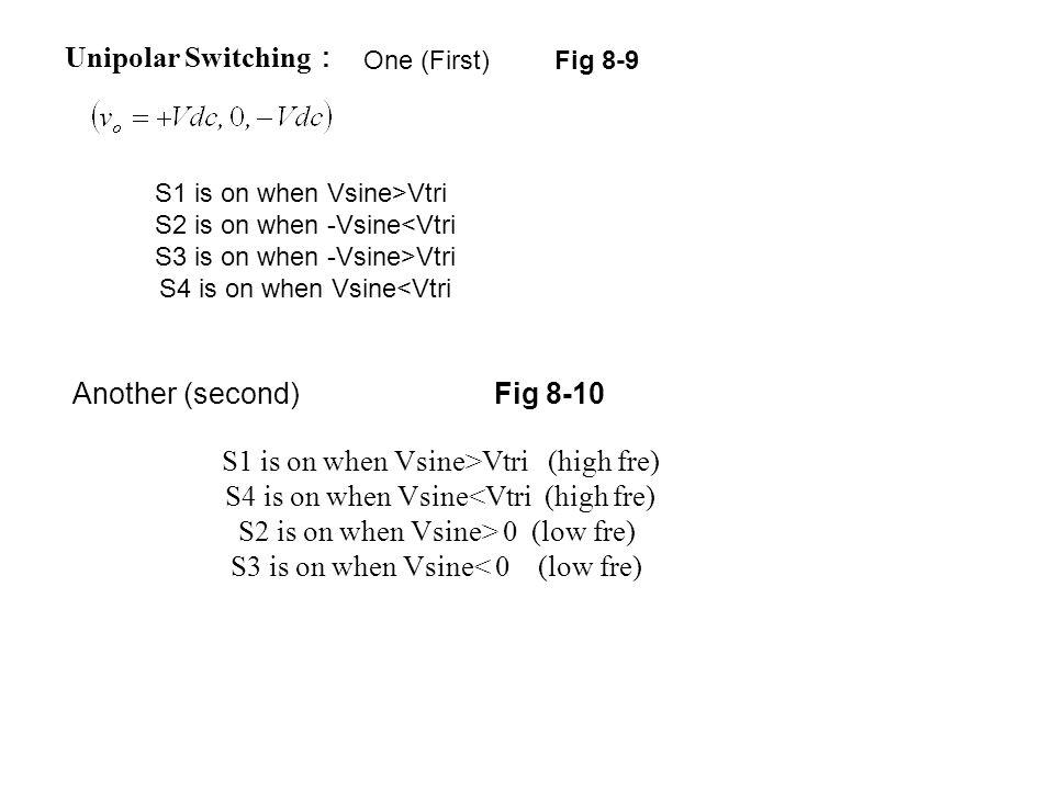 Unipolar Switching : S1 is on when Vsine>Vtri S2 is on when -Vsine<Vtri S3 is on when -Vsine>Vtri S4 is on when Vsine<Vtri Fig 8-9One (First) Another