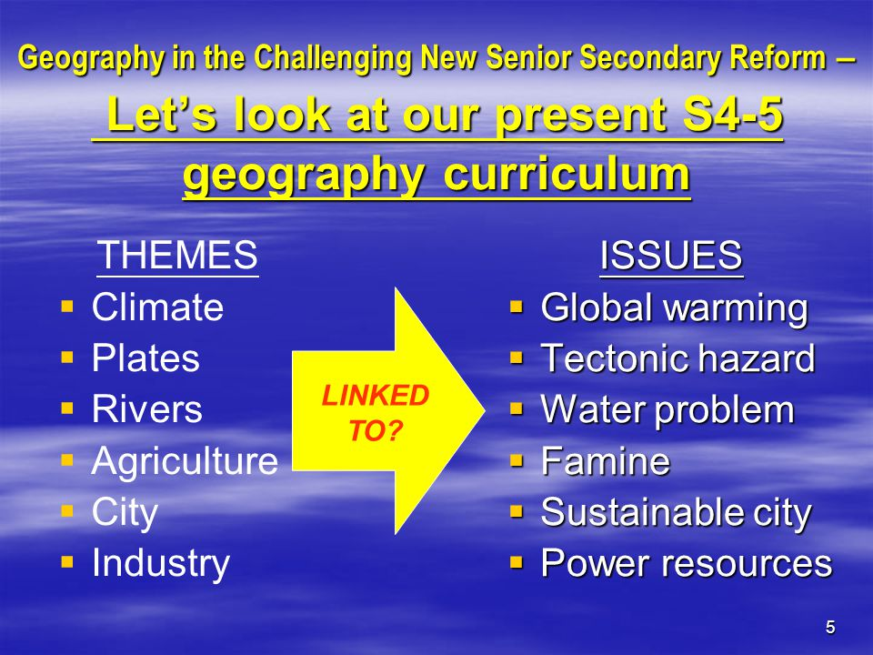 6 Geography in the Challenging New Senior Secondary Reform – Let's look at our present S4-5 geography curriculum THEMES   Climate   Plates   Rivers   Agriculture   City   Industry ISSUES  Global warming  Tectonic hazard  Water problem  Famine  Sustainable city  Power resources Any rooms for improvement?