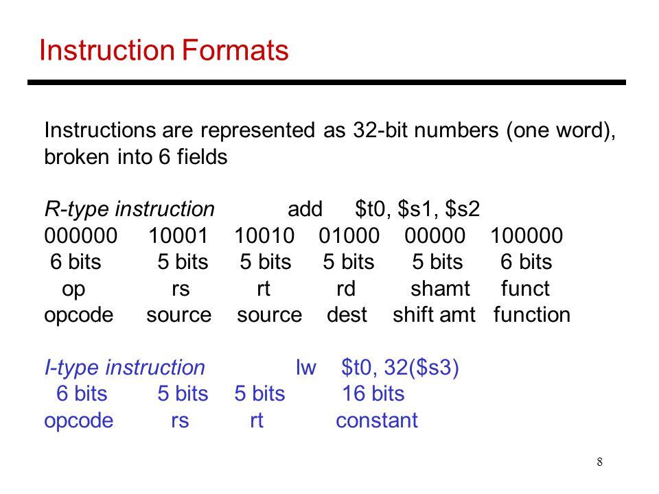 9 Logical Operations Logical ops C operators Java operators MIPS instr Shift Left << << sll Shift Right >> >>> srl Bit-by-bit AND & & and, andi Bit-by-bit OR | | or, ori Bit-by-bit NOT ~ ~ nor