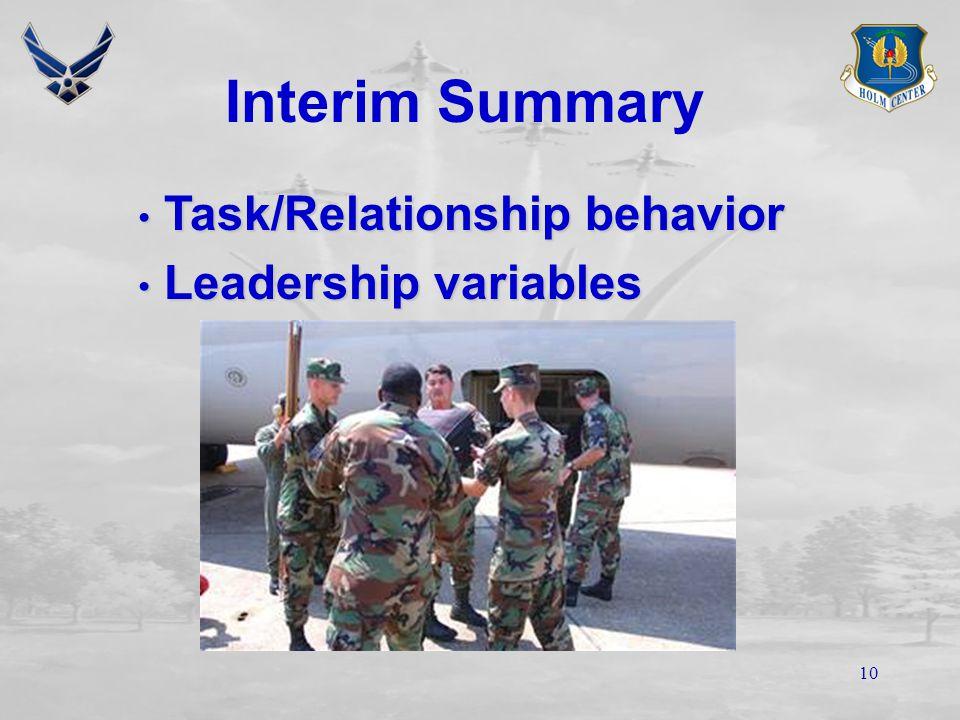 9 Leadership Variables Organization Job demands Time