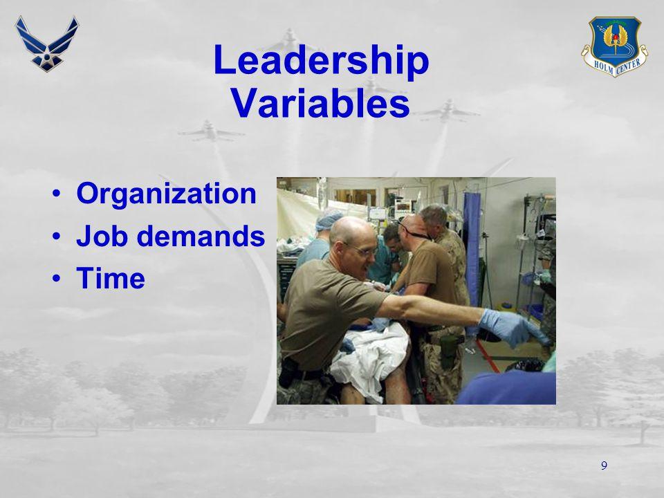 8 Leader/ Follower Leadership Variables Boss Associates/ Peers