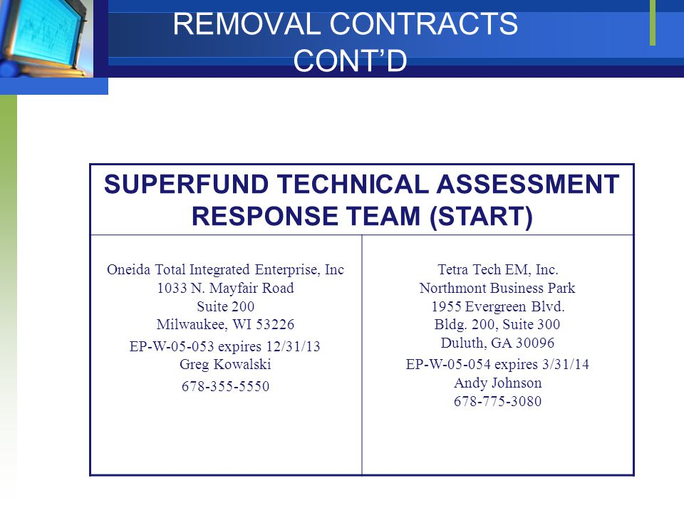 REMOVAL CONTRACTS CONT'D SUPERFUND TECHNICAL ASSESSMENT RESPONSE TEAM (START) Oneida Total Integrated Enterprise, Inc 1033 N.