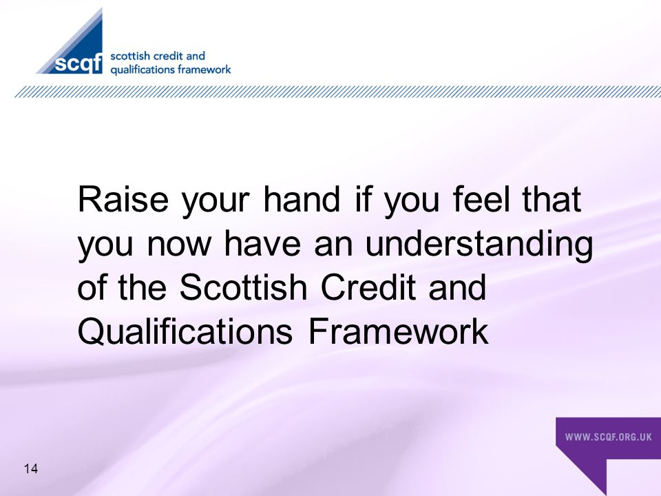 Raise your hand if you feel that you now have an understanding of the Scottish Credit and Qualifications Framework 14