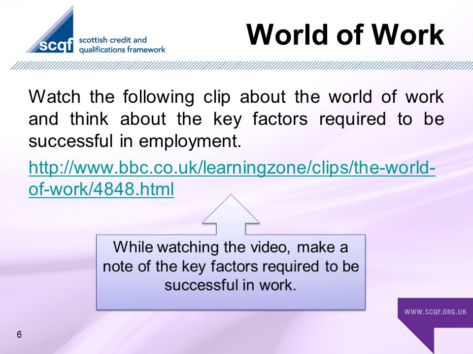World of Work Watch the following clip about the world of work and think about the key factors required to be successful in employment.