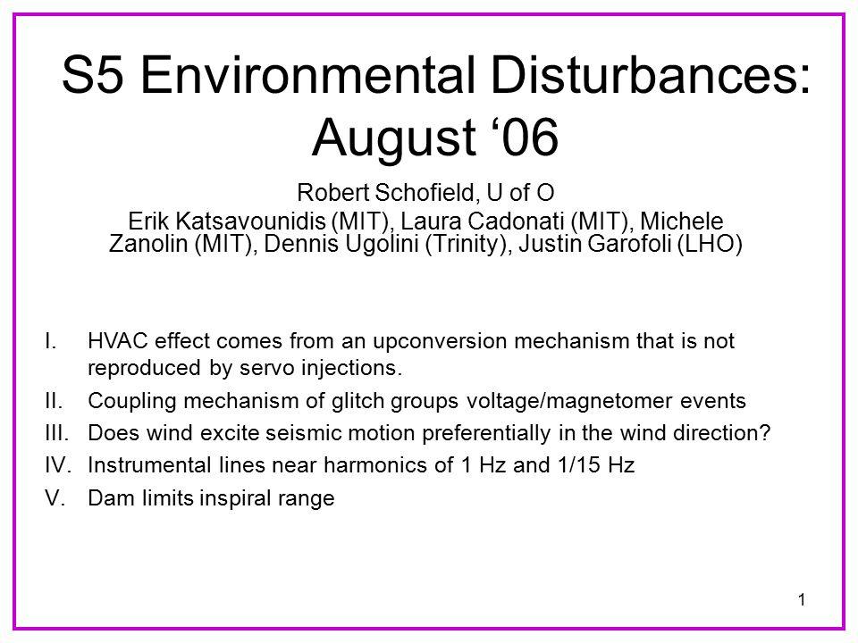 1 S5 Environmental Disturbances: August '06 Robert Schofield, U of O Erik Katsavounidis (MIT), Laura Cadonati (MIT), Michele Zanolin (MIT), Dennis Ugolini (Trinity), Justin Garofoli (LHO) I.HVAC effect comes from an upconversion mechanism that is not reproduced by servo injections.