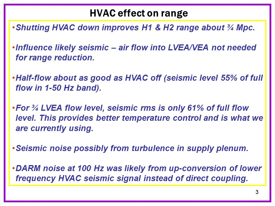 3 HVAC effect on range Shutting HVAC down improves H1 & H2 range about ¾ Mpc.