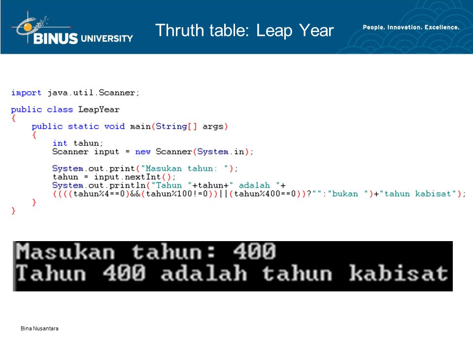 Bina Nusantara Thruth table: Leap Year