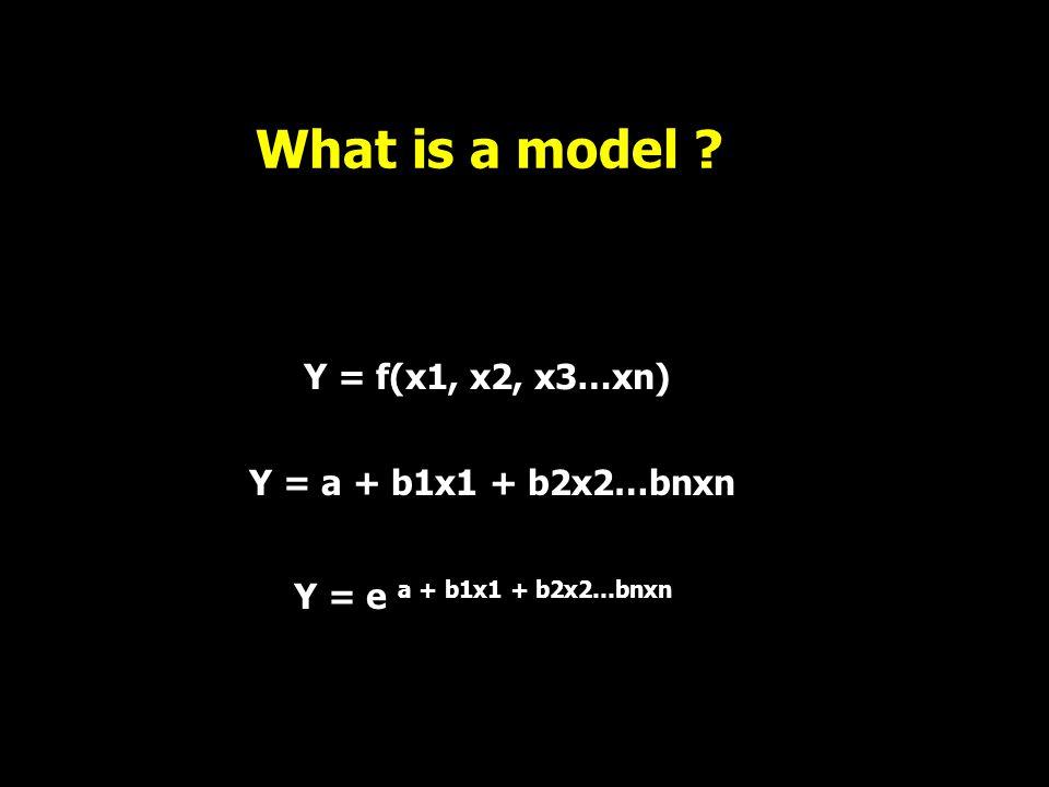 What is a model Y = f(x1, x2, x3…xn) Y = a + b1x1 + b2x2…bnxn Y = e a + b1x1 + b2x2…bnxn