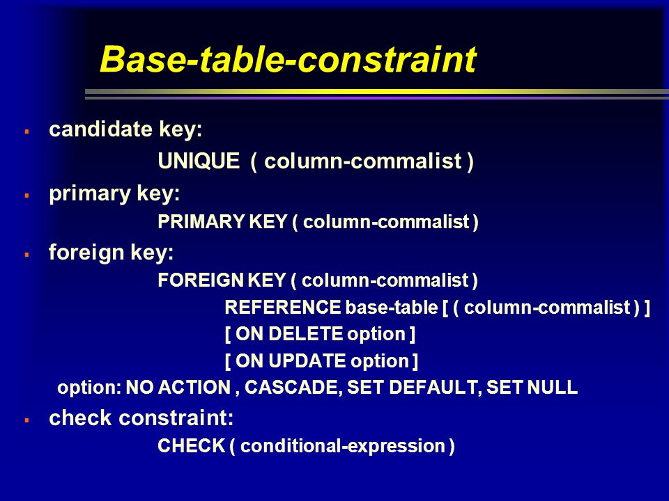 Base-table-constraint  candidate key: UNIQUE ( column-commalist )  primary key: PRIMARY KEY ( column-commalist )  foreign key: FOREIGN KEY ( column-commalist ) REFERENCE base-table [ ( column-commalist ) ] [ ON DELETE option ] [ ON UPDATE option ] option: NO ACTION, CASCADE, SET DEFAULT, SET NULL  check constraint: CHECK ( conditional-expression )