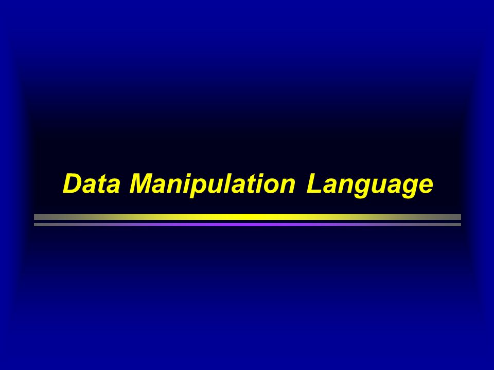 DML - Data Manipulation Language SELECT [ DISTINCT ] field(s) FROMtable(s) [ WHERE predicate ] [ GROUP BY field(s) [ HAVING predicate ] ] [ ORDER BY field(s) ] ; SQL