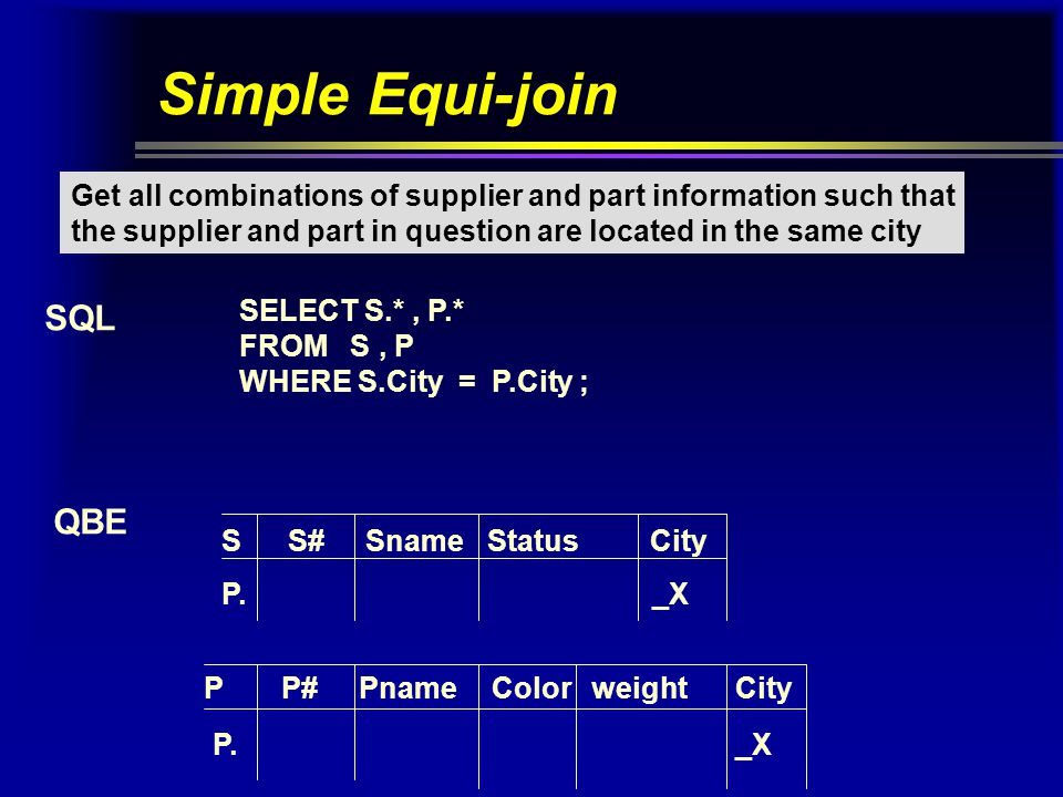 Greater-than join Get all combinations of supplier and part information such that the supplier city follows the part city in alphabetical order.