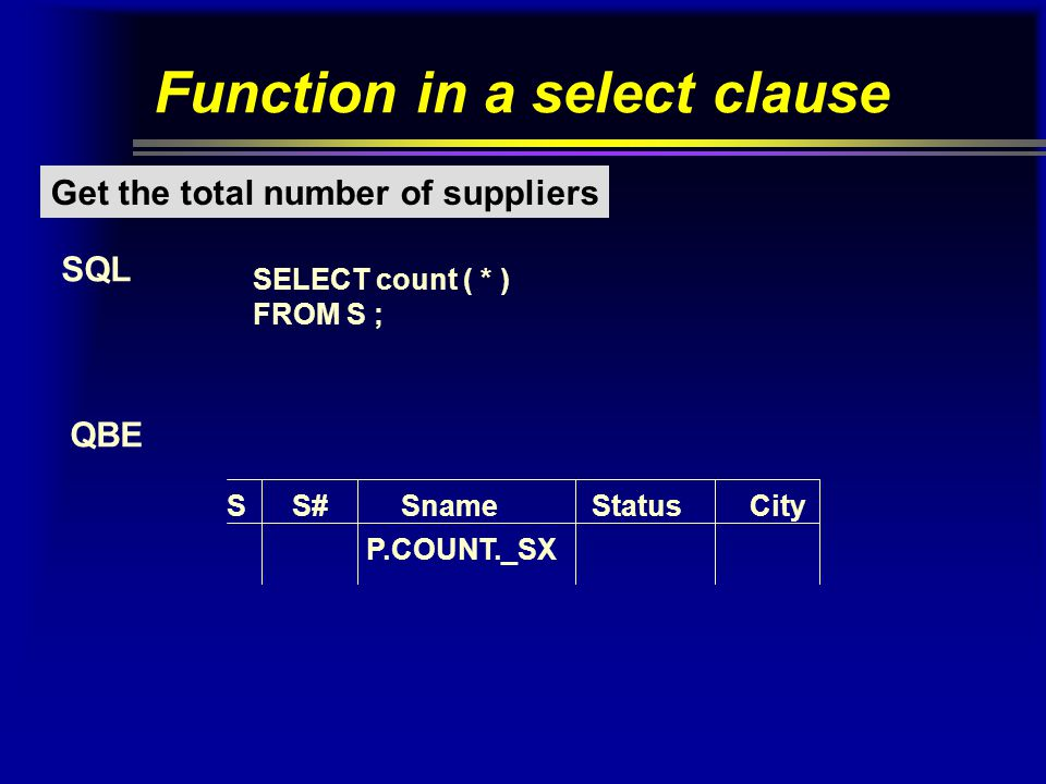 Function in a select clause Get the total number of suppliers SQL QBE SELECT count ( * ) FROM S ; SS# Sname StatusCity P.COUNT._SX