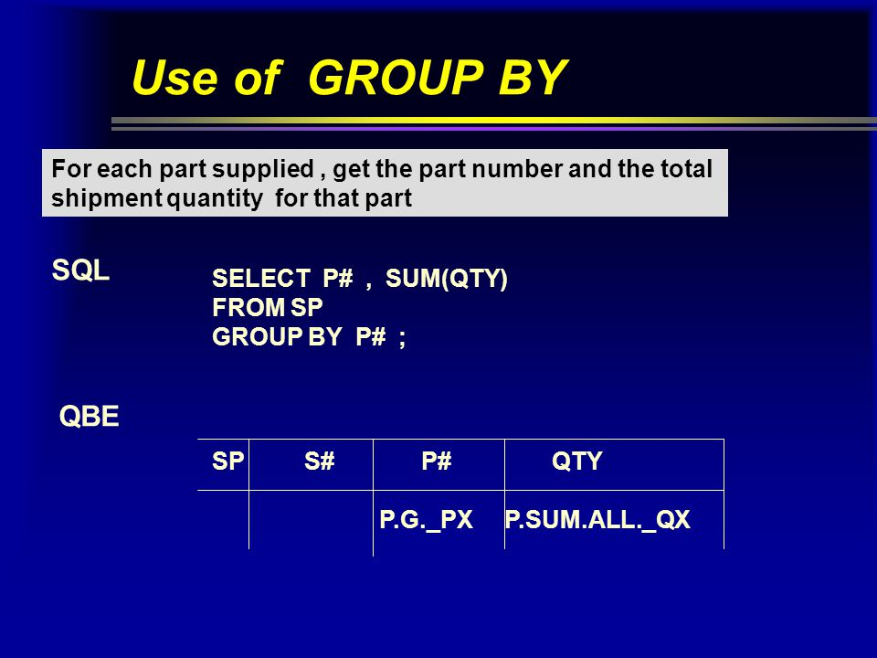 Use of HAVING Get part numbers for all parts supplied by more than one supplier.