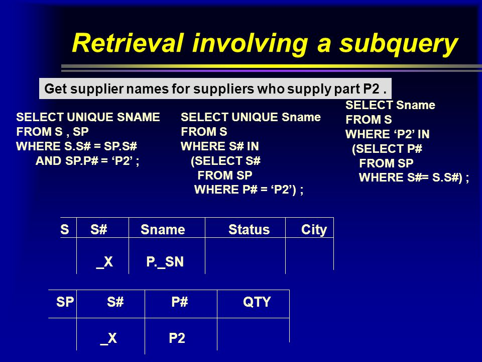 Retrieval involving a subquery Get supplier names for suppliers who supply part P2.