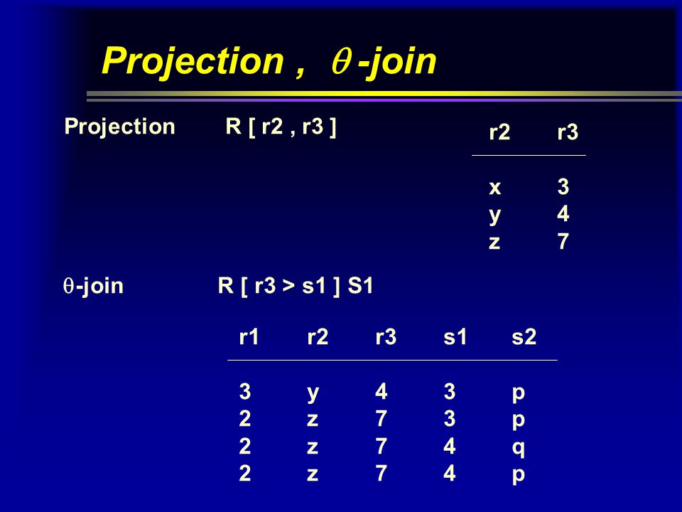 Projection,  -join Projection R [ r2, r3 ] r2r3 x3 y4 z7  -join R [ r3 > s1 ] S1 r1r2r3s1s2 3y43p 2z73p 2z74q 2z74p