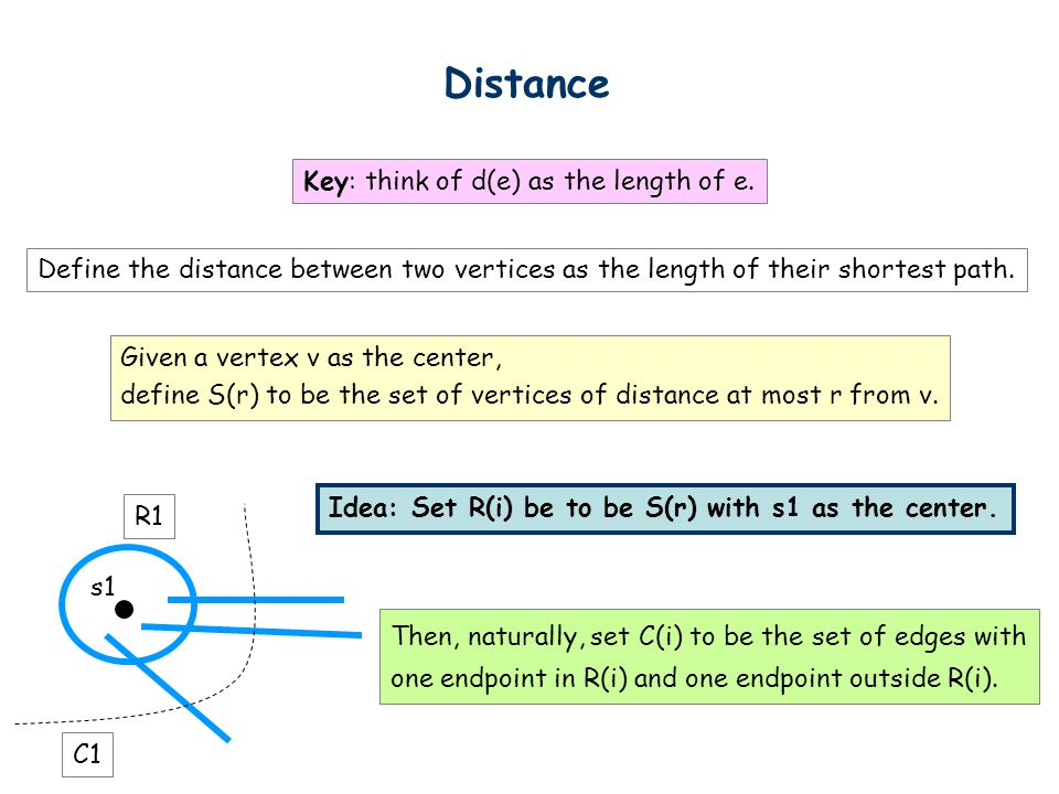 Distance Key: think of d(e) as the length of e.