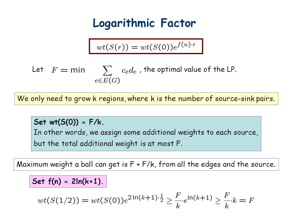 Logarithmic Factor Let, the optimal value of the LP.