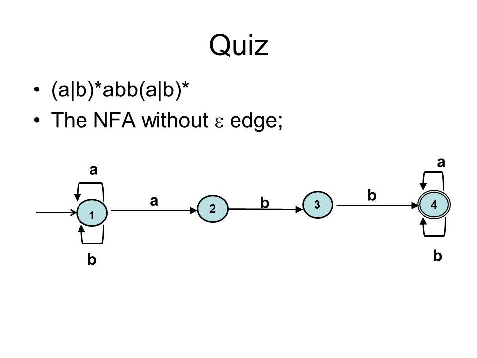 Quiz (a|b)*abb(a|b)* The NFA without  edge; 1 a 4 3 2 b b a b b a